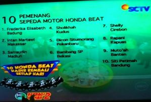 Pemenang 10 Honda Beat Sonice Tahap 2 (Hari Ke - 2)