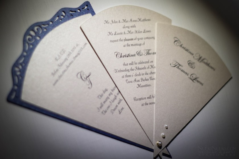 Fan Shaped Wedding Invitation With 3 Cards