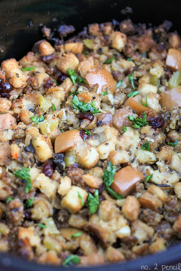 Sausage and Apple Stuffing from Number 2 Pencil | What to bring to friendsgiving