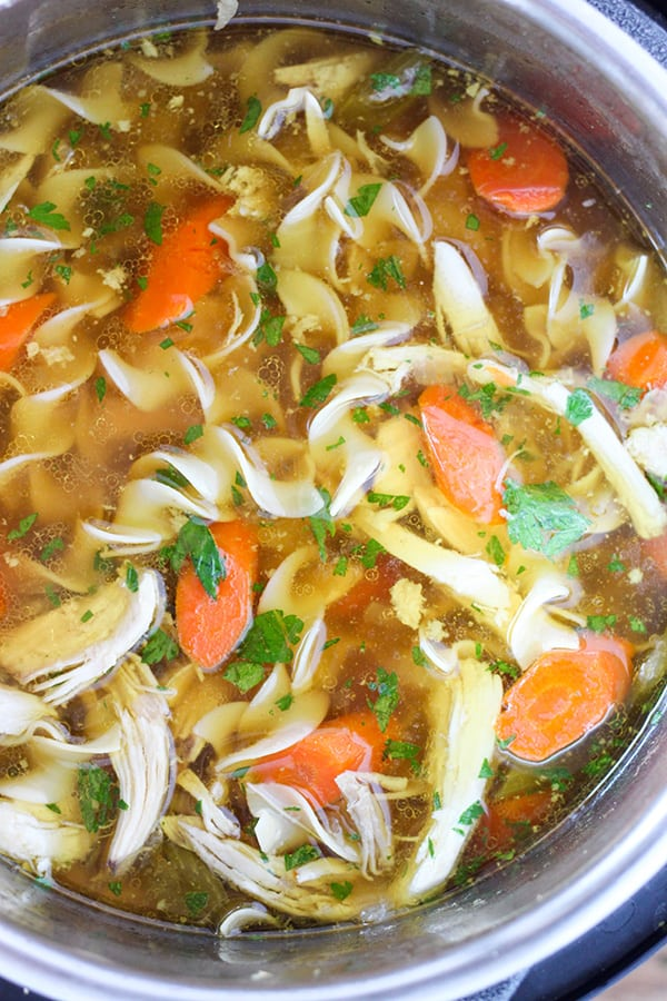 Instant Pot Chicken Noodle Soup -Tender chunks of chicken in a rich homemade chicken broth with big hearty veggies.