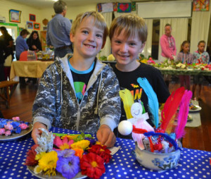 Nathan Gill, 6, with his creation, and friend Riley Stuart, 6.
