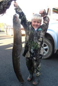 Jacob Lammas with his winning 6.87kg eel