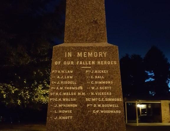 Gordonton cenotaph at dawn