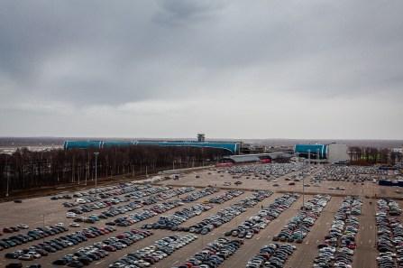 Вид с кровли ЗГК на аэропорт Домодедово
