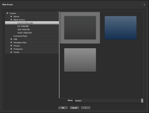 Выбор настроек нового экрана в Movicon.Next