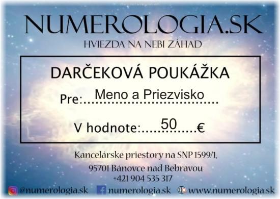 ukážka Darčeková poukážka 50 eur