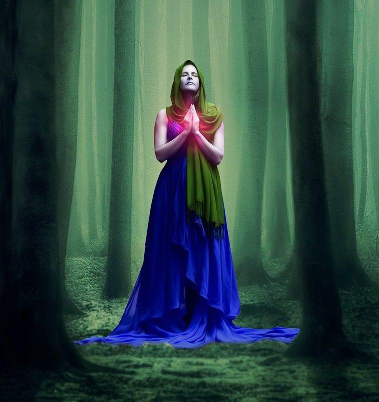 sama čarodejnica v hustom lese