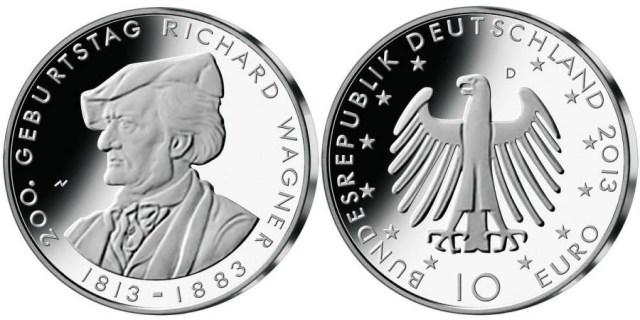 10 euro 200 años del nacimiento de  richard wagner