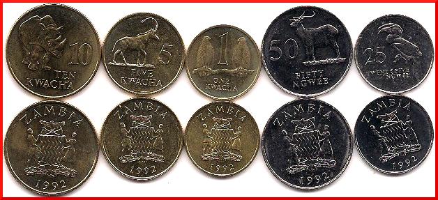 viejas monedas de zambia