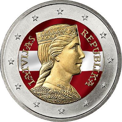 Moneda de 2 euros de Letonia coloreada
