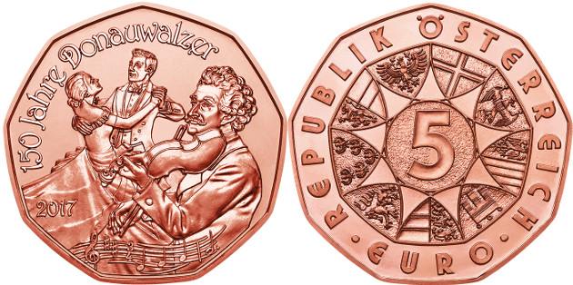 Resultado de imagen de moneda de austria 150 aniversario strauss