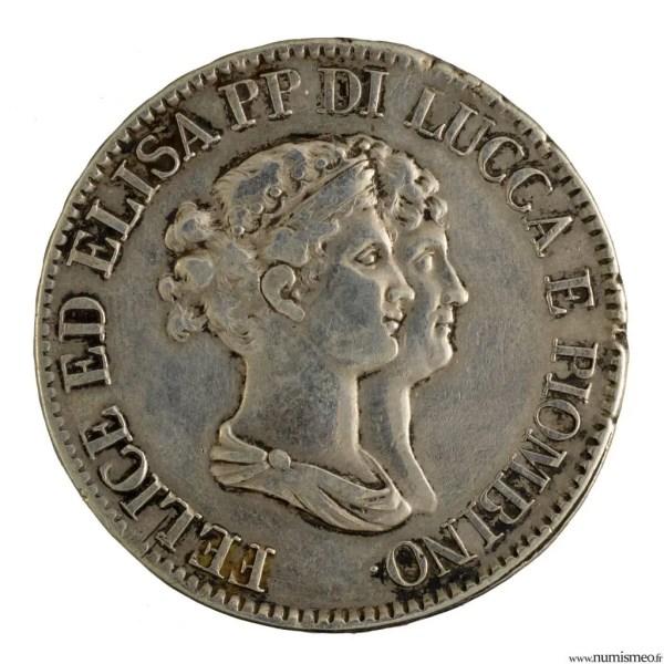 Lucques et Piombino 5 franchi 1807