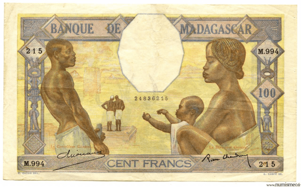 Madagascar 100 F (ND) signé CHAUDUN- DEJOUANY