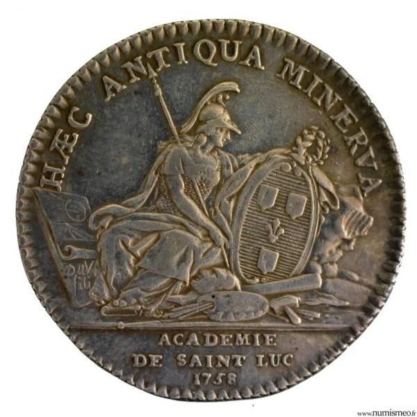 Louis XV AR jeton 1758 académie de Saint-Luc