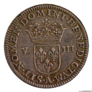 Henri IV Piefort en argent du 1/8ème d'écu 1607 Paris