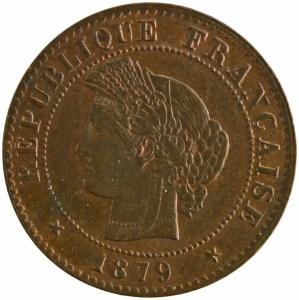 Third Republic 1 centime 1879 Paris