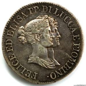Lucques et Piombino 5 Franchi 1808