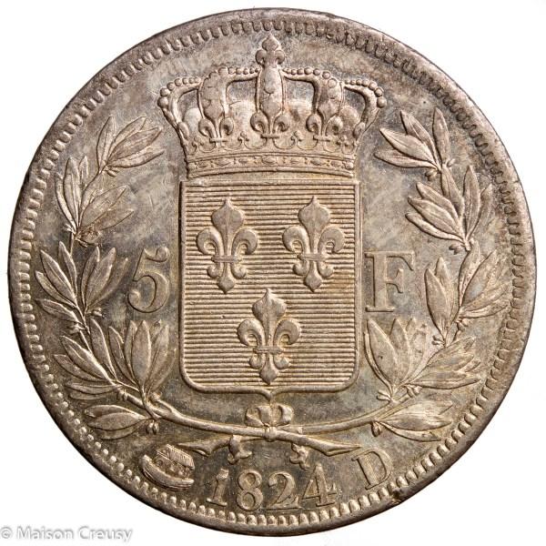 LouisXVIII-5francs1824D