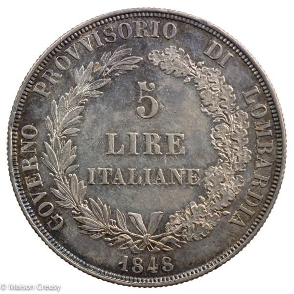 Lombardie5lire1848-Mont427-2