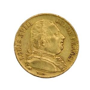 Louis XVIII 20 francs 1814 Bordeaux