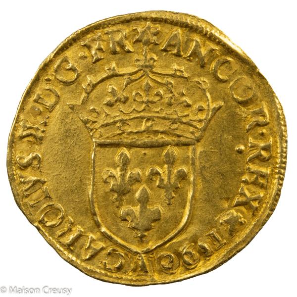 Charles X écu d'or au soleil 1er type 1590 Paris