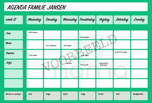 Voorbeeld familieagenda groen