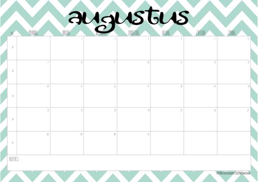 Kalender 2017 Augustus