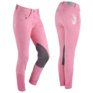 Lasten ratsastushousut, QHPIhanat lastenratsastus housut kolmella eri värillä. Takana on ihana hevonen paljeteilla ympyröitynä.