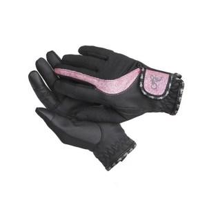 Ratsastushanskat, Horse Comfort Joustava ja pitävä ratsastuskäsine. Hengittävä verkko ja touch screen. Väri musta pinkillä kimalteella.