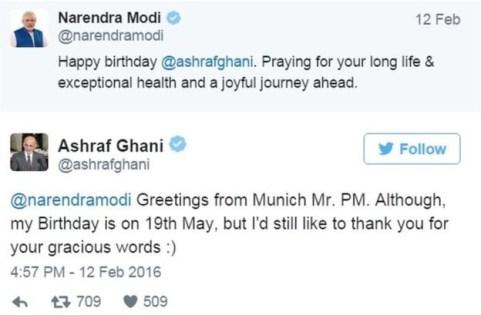 modi and ashraf ghani tweets