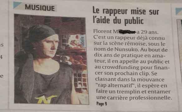 Anaïs Gerbaud est une journaliste culture, musique actuelle de la ville de Reims et bosse à l'union Reims. Elle a interviewé l'artiste rap Nunsuko