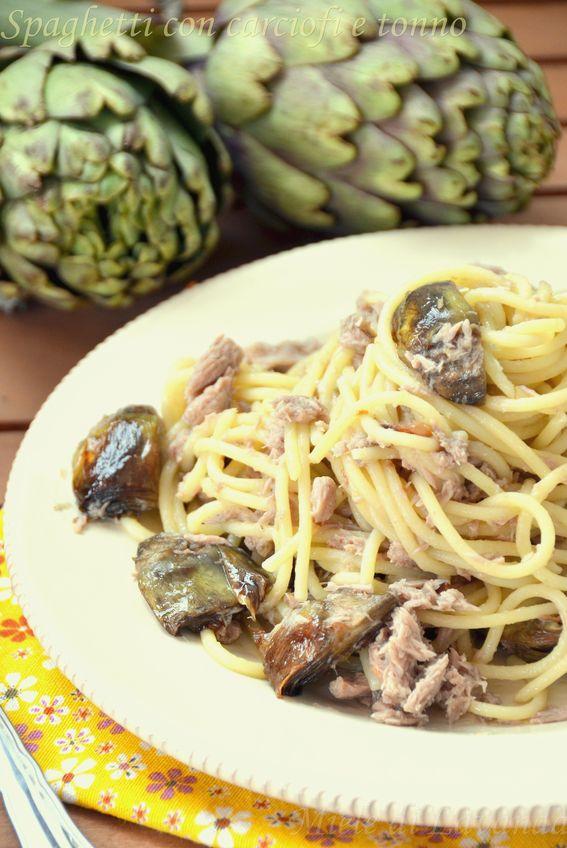 Spaghetti con carciofi e tonno