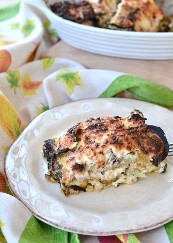 Tortino di melanzana e zucchine al forno con robiola