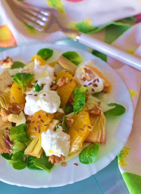 Insalata di carciofi con burrata pugliese arancia e semi di lino