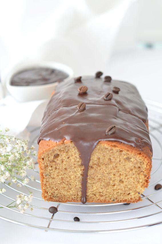 Plumcake al caffè con ganache al cioccolato fondente