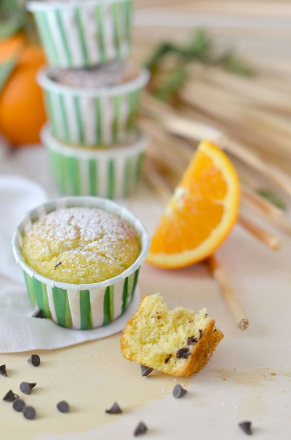 Muffin senza burro con arancia e gocce di cioccolato
