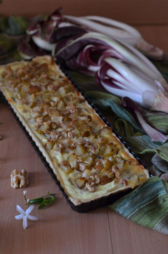 Quiche salata con ricotta radicchio e pere caramellate SENZA burro