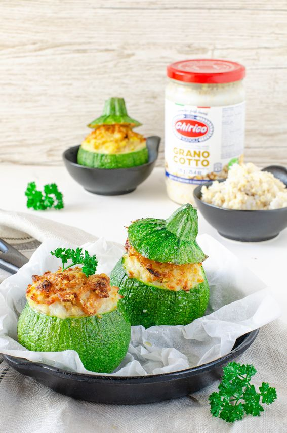 Zucchine tonde ripiene con prosciutto e grano cotto Chirico