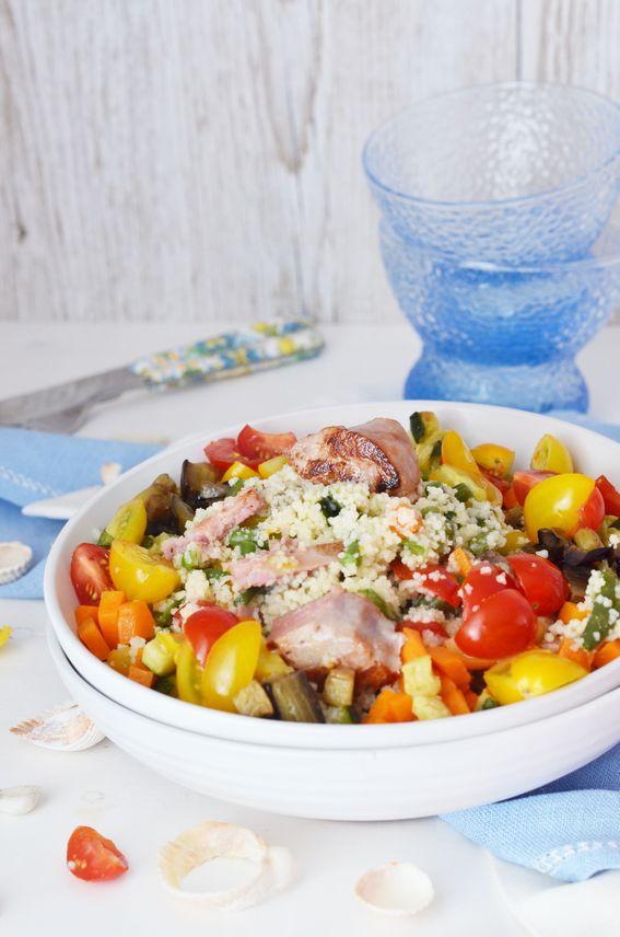 Cous cous con ortaggi di stagione e tonno fresco in tranci
