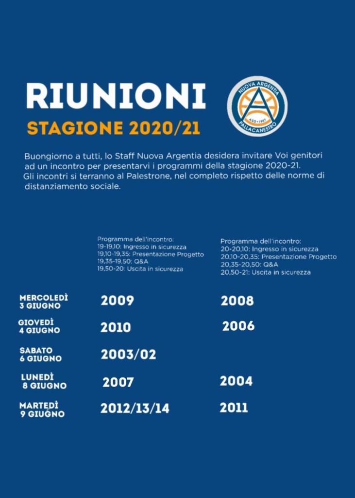 RIUNIONI Nuova Stagione 2020/2021