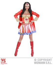 Super Hero Girl - vestito con mantello, copricapo - cod. 01761