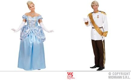 Cenerentola - vestito con sottogonna, tiara, guanti - cod. 7387 / Principe - giacca, pantaloni, cintura, fascia - cod. 7386