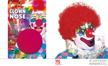 Naso clown in spugna - cod. 2285C - 2,00 € / Parrucca clown - cod. 6000A - 6,00 €