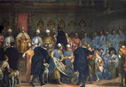 """Gabriele Caliari, """"Il doge Marino Grimani riceve i doni degli ambasciatori persiani nel 1603"""