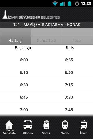 İzmir Buyuksehır Beldesi app - Orari