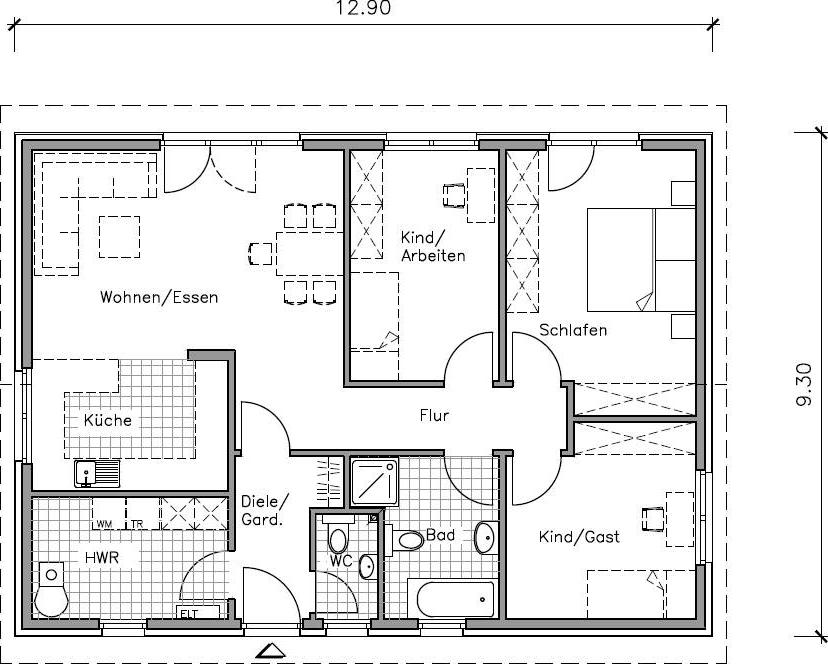 bungalow grundriss erdgeschoss mit 99 70 m wohnflache