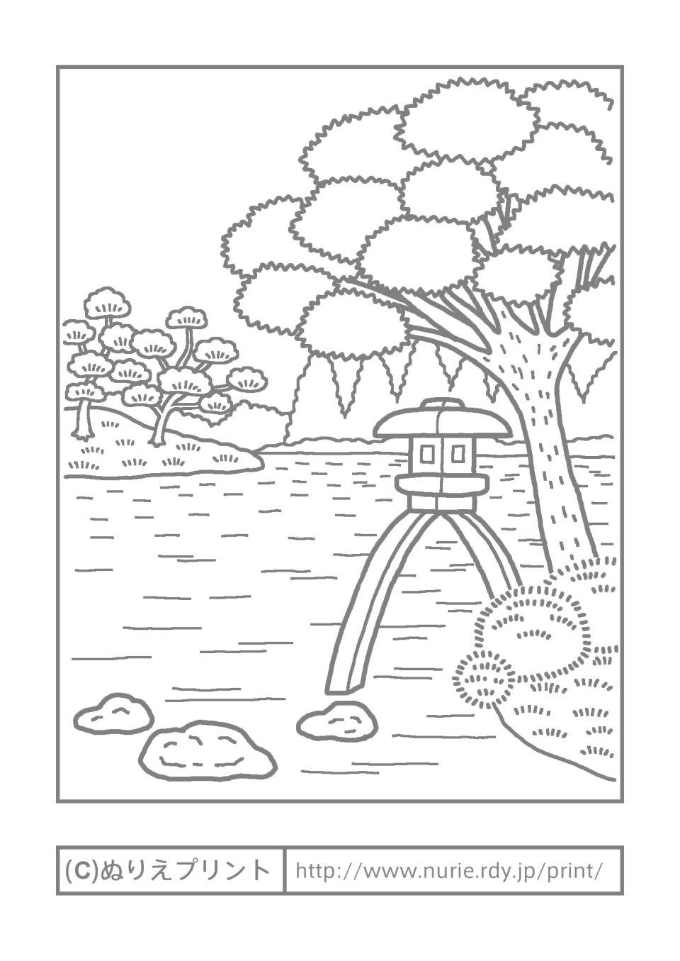 日本の名所2/風景/大人の塗り絵/無料ぬりえ