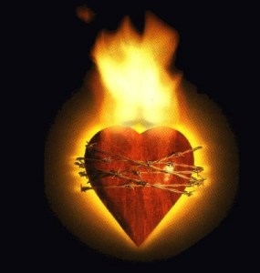 Chained heart on fire