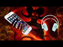 Demon holding phone and headphones-negative energies-satan-frequency-shaitans plans