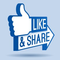 Like and share thumbs up symbol for social networking.